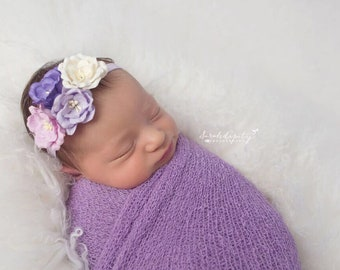 Lilac Knit Wrap AND/OR Matching Mulberry Paper Flower Headband, photo shoots, newborn swaddle wrap, bebe foto, Lil Miss Sweet Pea
