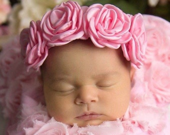 Satin Rose Halo for newborn photo shoots, these flowers measure 2 inches each, by Lil Miss Sweet Pea