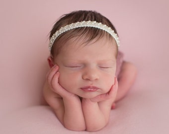 Off-white Pearl Beaded Braided  Headband - photo shoots, Baptism, Christening, Baby Shower Gift, by Lil Miss Sweet Pea