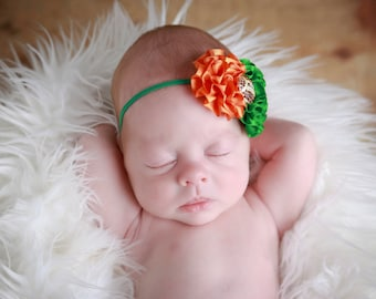 University of Miami Football Headband, newborn prop, Lil Miss Sweet Pea