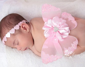 Pink heart baby butterfly fabric wings and or matching headband for newborn photo prop, newborn photographers,  wings by Lil Miss Sweet Pea