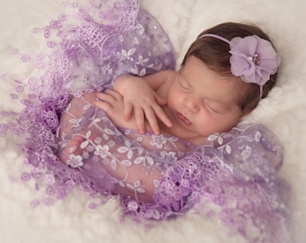 Lavender Fringe Swaddle Wrap with a Lavender Pearl and Rhinestone Flower Headband, newborn photos, baby headband, by Lil Miss Sweet Pea