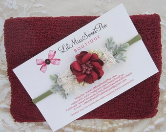 Knit Swaddle Wrap in Cranberry/Merlot, with a matching headband, Christmas photo shoots, Christmas newborn prop, bebe, by Lil Miss Sweet Pea