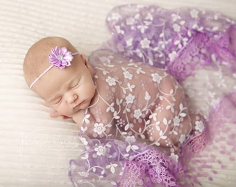 Lavender Fringe Swaddle Wrap with Matching Headband for newborn photo shoots, baby headband, lace by Lil Miss Sweet Pea