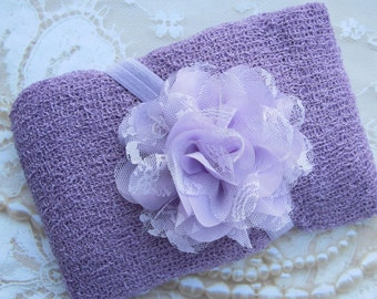 Lilac Knit Wrap AND/OR Matching Lilac Chiffon and Lace Flower Headband, photo shoots, newborn swaddle wrap, bebe foto, Lil Miss Sweet Pea