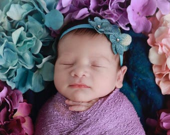 Double Hydrangea Headband AND /OR Lilac Stretch Knit Wrap , perfect for photo shoots, new baby, bebe, photographer, Lil Miss Sweet Pea