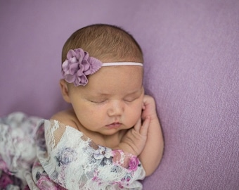 Stretch Lace Wrap in Pink and Grey Floral Print AND/OR Mauve Flower headband, newborn photo, Lil Miss Sweet Pea