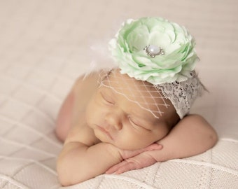 4 inch Ranunculus flower headband, wide lace, newborn photography, bandeau, by Lil Miss Sweet Pea