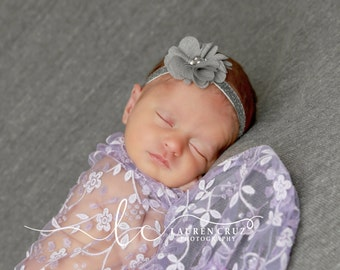 Pretty 2 inch grey shimmer petal flower on silver glitter elastic, just perfect for a newborn, photo shoots or everyday, Lil Miss Sweet Pea