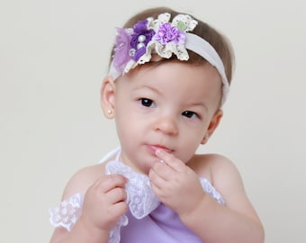 Purple and Lavender Tie-back Headband for all ages, lace and cluster of small flowers, photography prop, by Lil Miss Sweet Pea