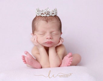 Rhinestone Baby Crown for newborn or maternity, baby crown, tiara, Austrian Crystals, photographer, newborn bebe by Lil Miss Sweet Pea