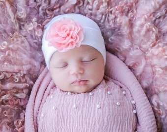 Newborn Hospital Hat, white with 5 inch pink chiffon flower, baby hat, infant beanie, shower gift, infant hat, gift, Lil Miss Sweet Pea