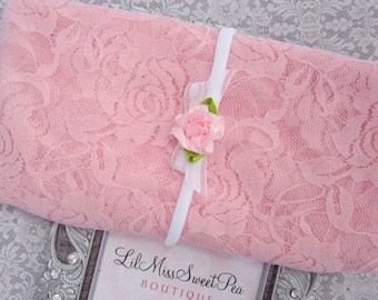 Pink stretch lace swaddle wrap AND/OR matching headband, photographer, by Lil Miss Sweet Pea