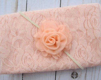 "Peach stretch lace swaddle wrap (16 x 58"") AND/OR matching 2.5"" flower headband, newborn photo shoots, stretch lace by Lil Miss Sweet Pea"