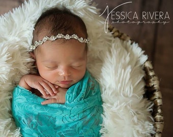 Beautiful Sparkly Silver Rhinestone Headband for newborns to adult, newborn photo, baby bling, bebe foto, by Lil Miss Sweet Pea