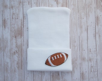 WHITE BOYS Football Newborn Hospital Hat, infant beenie, hospital take home hat, boys sports hat, baby beenie, by Lil Miss Sweet Pea