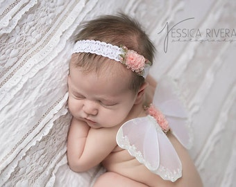 Peach and white glitter wings, purchase headband only, wings only or the set - for newborn photos, photo prop, Lil Miss Sweet Pea