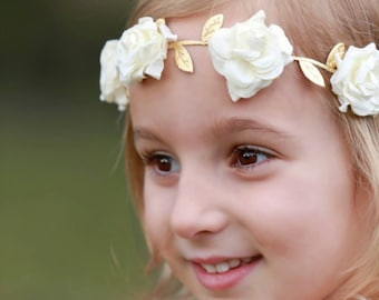Ivory Mulberry Flowers on Gold Leaf Trim, perfect for all ages, bridesmaid, bride, newborn, paper flower halo by Lil Miss Sweet Pea