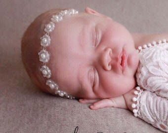Newborn headband in white plastic, christenings, baptism, birthday, photoshoot by Lil Miss Sweet Pea