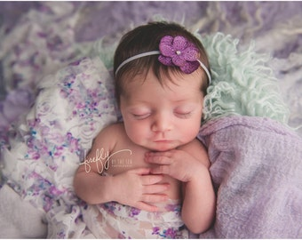 Purple Hydrangea Flower on Skinny Elastic by Lil Miss Sweet Pea for newborn photos, close up photography, infant headband, hairband