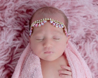 Pink and Gold Rhinestone Teardrops Headband for girls, perfect for newborns and photo shoots  photographer, Lil Miss Sweet Pea, infant, bebe