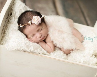 Vintage Blush Angel Baby Feather Wings AND/OR Twig Rose Halo set, for a newborn infant, bebe foto, photographer, by Lil Miss Sweet Pea