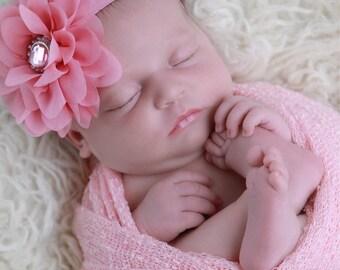 Pastel Pink Knit Swaddle Wrap AND/OR Pink Petal Flower Headband for girls, newborns, bebe fotografia, Lil Miss Sweet Pea