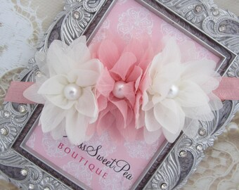 Pink and Off-white Soft Petals Headband for all ages but works great for newborn photo shoots, by Lil Miss Sweet Pea