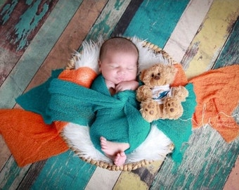 Miami Dolphin Photographer WRAP Set for Boys - Orange AND/OR Teal Swaddle Wrap -  sports, football colors, bebe photo, Lil Miss Sweet Pea