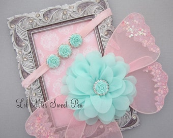 Pink and aqua baby butterfly wings,  - newborn photos, photo prop, newborn photographer by Lil MIse Sweet Pea