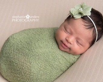 Sage Knit Stretch Wrap AND/OR 2 inch sage petal flower on skinny ivory elastic, newborn photo shoots or everyday, Lil Miss Sweet Pea