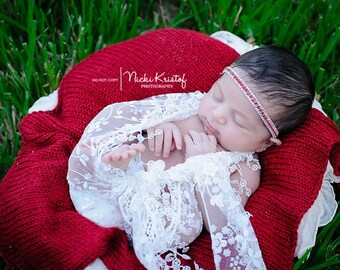 Newborn White Floral Print Lace Wrap AND / OR Matching Red & Clear Rhinestone Headband set for newborns, photographer by Lil Miss Sweet Pea