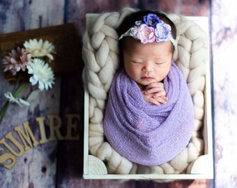 Lilac Knit Wrap AND/OR Matching Mulberry Paper Flower Silk Tieback Headband, swaddle wrap, bebe foto, Lil Miss Sweet Pea