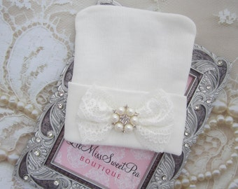 Hospital Take Home Hat in White with a Delicate Lace Bow and Pearls, girl beenie, pearls and lace, hat, shower gift, Lil Miss Sweet Pea