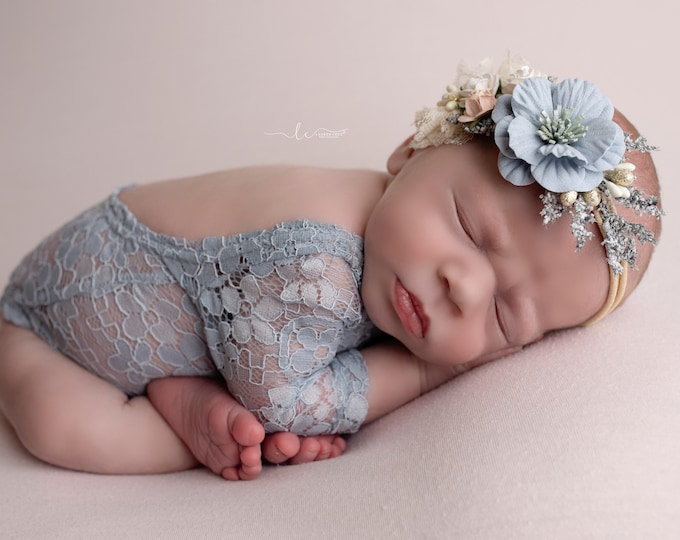 Featured listing image: Lace Romper, Stretch lace, w/sleeves, periwinkle blue, ivory or rose, unlined, AND/OR cluster flower headband, bebe foto, Lil Miss Sweet Pea