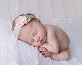 Pink Organic Paper Flower with gold leaves on on crinkle silk headband, newborn photo prop, bebe foto, Lil Miss Sweet Pea Boutique