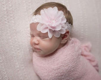Baby Pastel Pink Stretch Knit Wrap AND / OR matching lace headband, For Newborn photos, bebe foto, baby swaddle, Lil Miss Sweet Pea 43