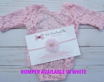 Newborn Lace Romper in White or Pink AND/OR Pink Tulle Flower Headband, low back, couture romper, photoshoot, bebe foto, Lil Miss Sweet Pea