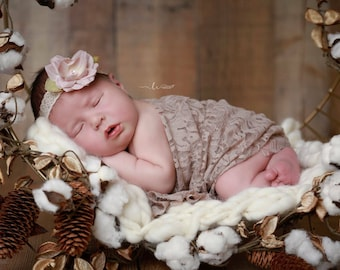 Stretch Lace Wrap in Taupe AND/OR Vintage Lace Headband for newborn photo shoots, lace wrap by Lil Miss Sweet Pea