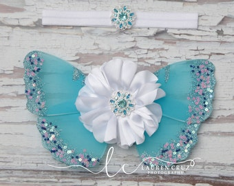 Butterfly wings - Blue, White and Silver - Purchase headband, wings, or the complete set photo prop, photographers, Lil Miss Sweet Pea