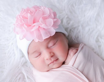 Newborn Hospital Hat, white with 4 inch pink chiffon flower, baby hat, infant beanie, shower gift, infant hat, gift, Lil Miss Sweet Pea