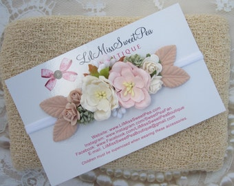 Linen Swaddle AND/OR Couture Pink & Cream Mulberry Flower Headband, bandeau, newborn photoshoot, photographer headband, Lil Miss Sweet Pea