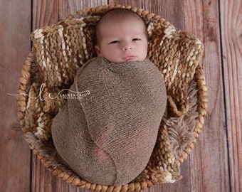 Chunky Yarn Layering Blanket for Boys Photo Shoots, brown, taupe, tan and ivory, handmade bump blanket, by Lil Miss Sweet Pea Boutique