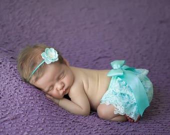 Newborn Aqua Lace Bloomers AND/OR Organic Paper Flower Headband, newborn lace diaper cover, bebe foto, Lil Miss Sweet Pea Boutique, foto