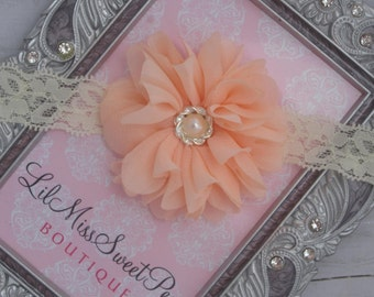 Peach Blossom on Ivory Lace makes up this pretty flower headband for weddings, newborn babies, toddlers, bebe, foto by Lil Miss Sweet Pea