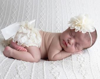 "Newborn Ivory Lace Diaper Cover / Bloomer AND/OR Chiffon  4"" Flower Headband, bebe foto, Newborn Photographer, Lil Miss Sweet Pea"