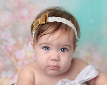 Gold and Lace Felt Bow Stretch Lace Headband for newborns and up, photoshoots, baby headband, baby shower gift, Lil Miss Sweet Pea