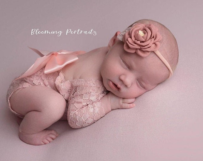 Featured listing image: Dusty Rose Newborn Lace Romper Outfit, lace, unlined, AND/OR matching floral headband, newborn set, bebe foto, Lil Miss Sweet Pea
