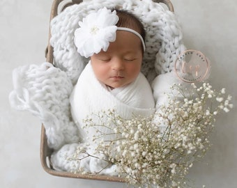 """Bright White Muslin Pearl Swaddle Wrap AND/OR matching 3.75"""" floral headband, swaddle set, and/or white knit layer by Lil Miss Sweet Pea"""