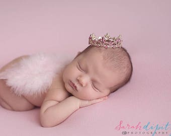 Newborn Silver Crown with Pink Rhinestones, baby girl photo, baby crown, infant crown, by Lil Miss Sweet Pea